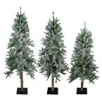 4 ft. 5 ft. and 6 ft. Unlit Flocked Alpine Artificial Christmas Trees(Set of 3)