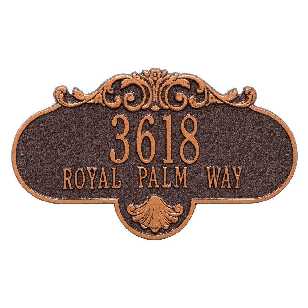 Oval Rochelle Grande Antique Copper Wall 2-Line Address Plaque