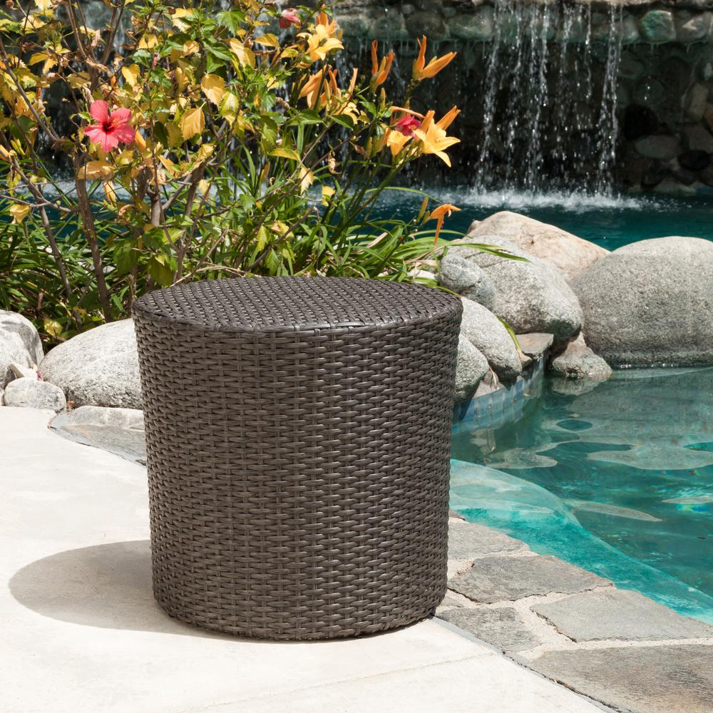 Outstanding Noble House Jalen Grey Round Barrel Wicker Outdoor Side Table Pabps2019 Chair Design Images Pabps2019Com