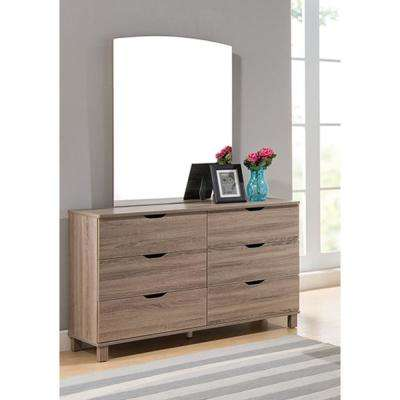 Commodious Brown Finish 6 Drawer Dresser without Mirror