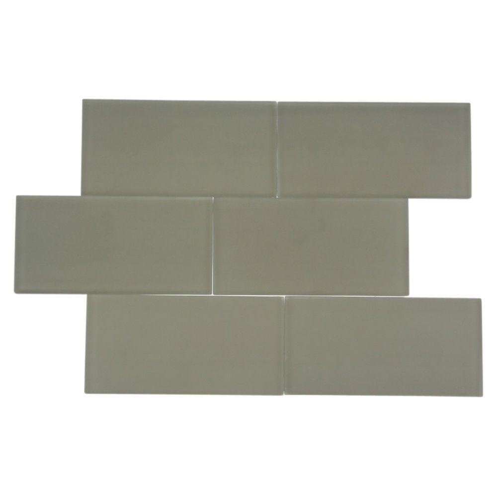 Splashback Tile Contempo 3 in. x 6 in. Natural White Frosted Glass Tile