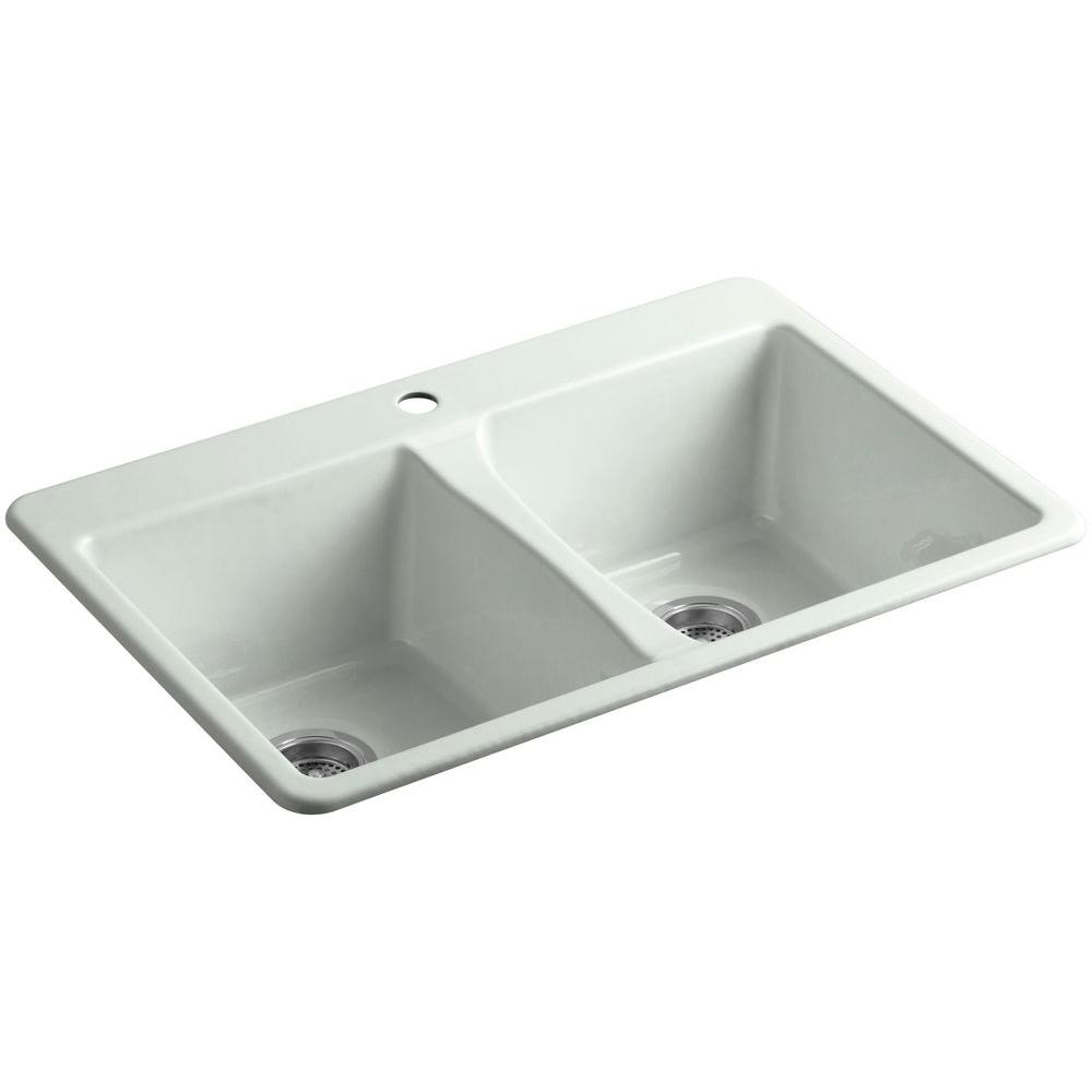 KOHLER Deerfield Drop-In Cast Iron 33 in. 1-Hole Double Bowl Kitchen Sink in Sea Salt
