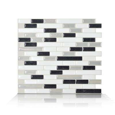 Muretto Alaska Charcoal 10.20 in. W x 9.10 in. H Peel and Stick Self-Adhesive Mosaic Wall Tile Backsplash (6-Pack)