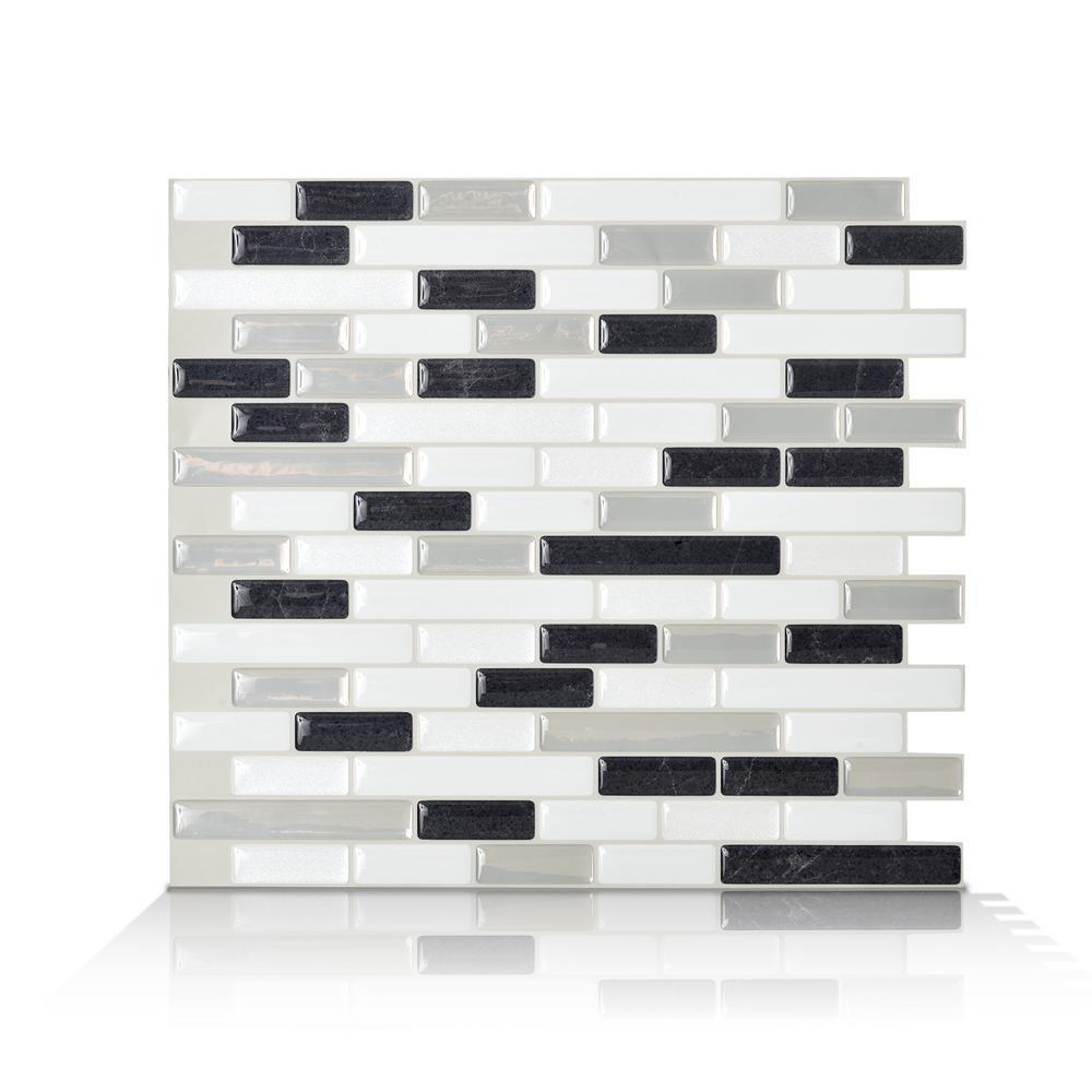 Smart Tiles Muretto Alaska Charcoal 10.20 in. W x 9.10 in. H Peel ...