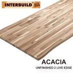 Unfinished Acacia 6 ft. L x 40 in. D x 1.5 in. T Butcher Block Island Countertop with Live Edge