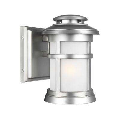 Newport 1-Light Painted Brushed Steel Outdoor 9 in. Wall Mount Lantern