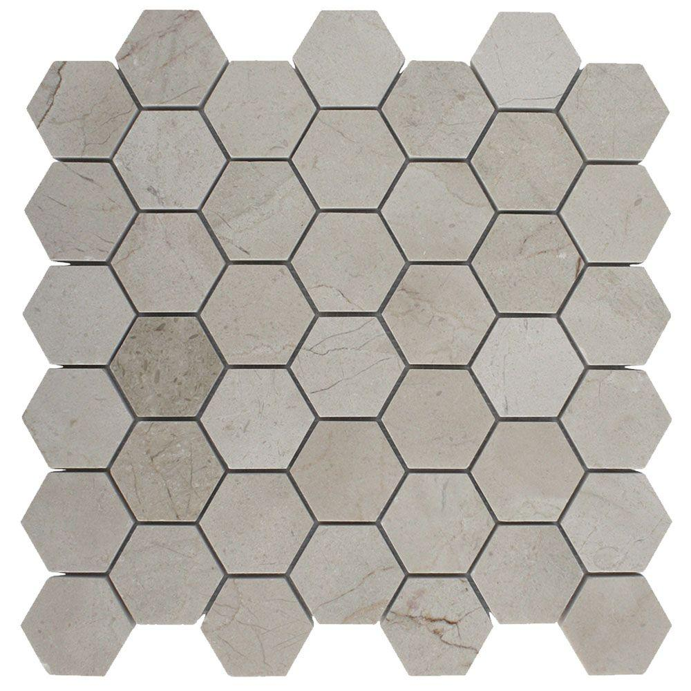 Splashback Tile Crema Marfil Hexagon 12 In X 12 In X 8 Mm Polished