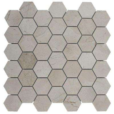 Crema Marfil Hexagon 12 in. x 12 in. x 8 mm Polished Marble Floor and Wall Tile