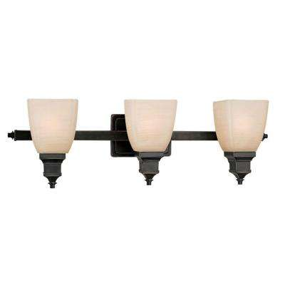 3-Light Bordeaux Bath Vanity Light with Rustic Umber Glass