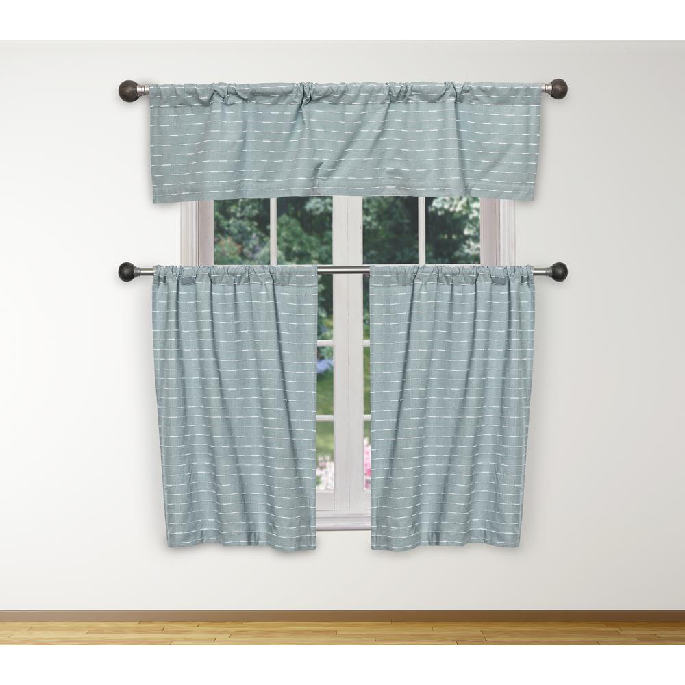 Beau Duck River Tate Kitchen Valance In Blue White   15 In. W X 58