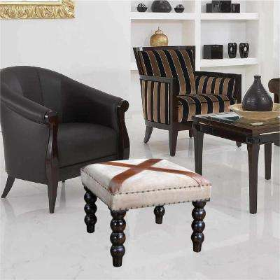 Cream and Brown Folding Chair