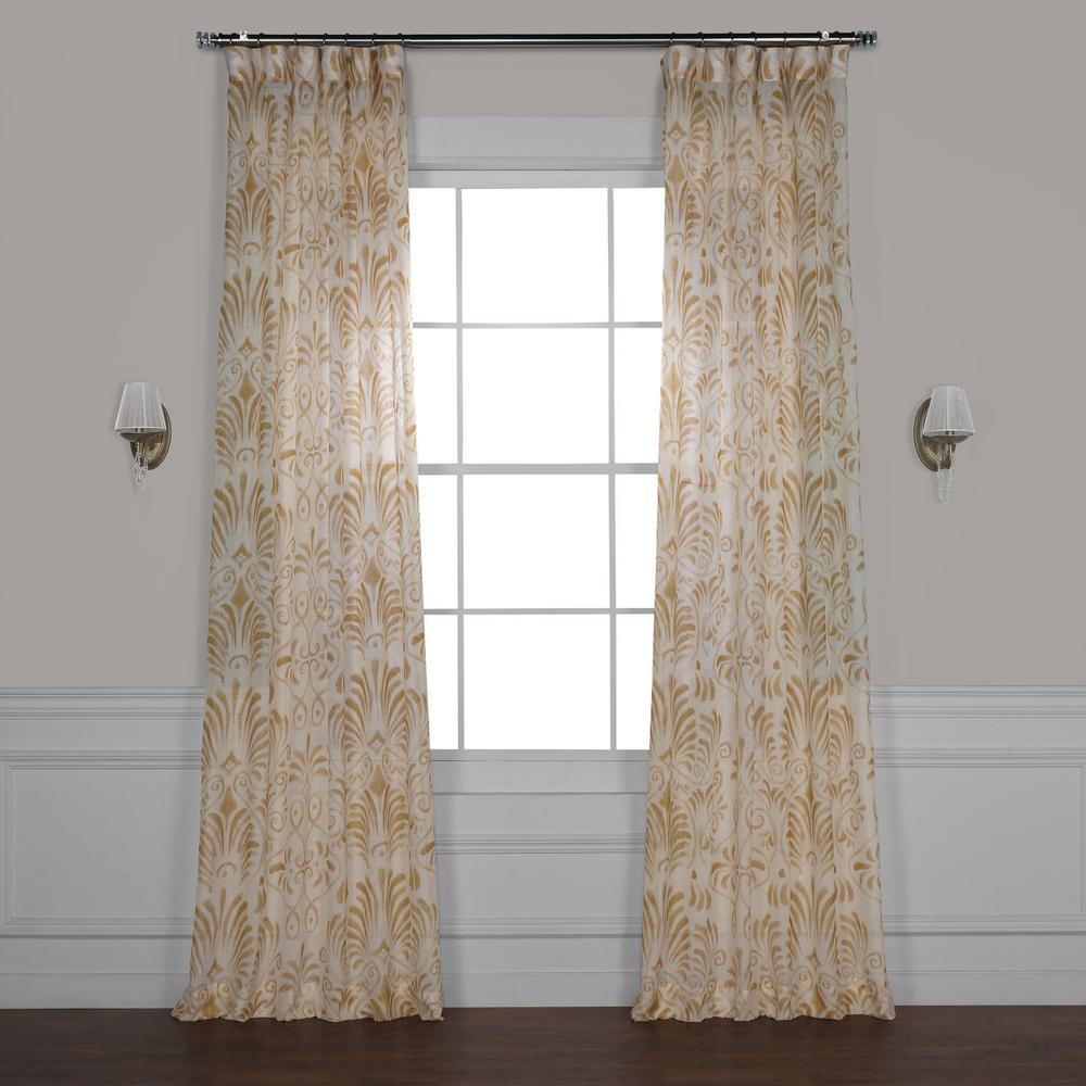 Xenia Tan Printed Sheer Curtain - 50 in. W x 120 in. L