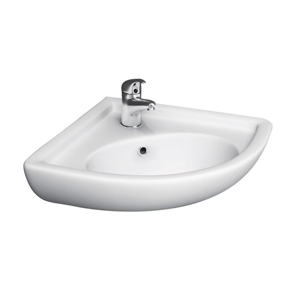 Barclay Products Corner Wall-Mounted Bathroom Sink in White