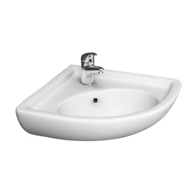 Corner Wall-Mounted Bathroom Sink in White