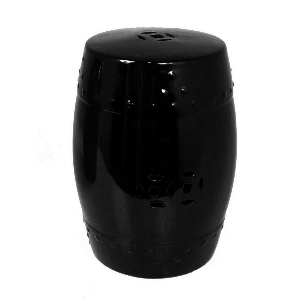 18.25 in. Black Ceramic Garden Stool