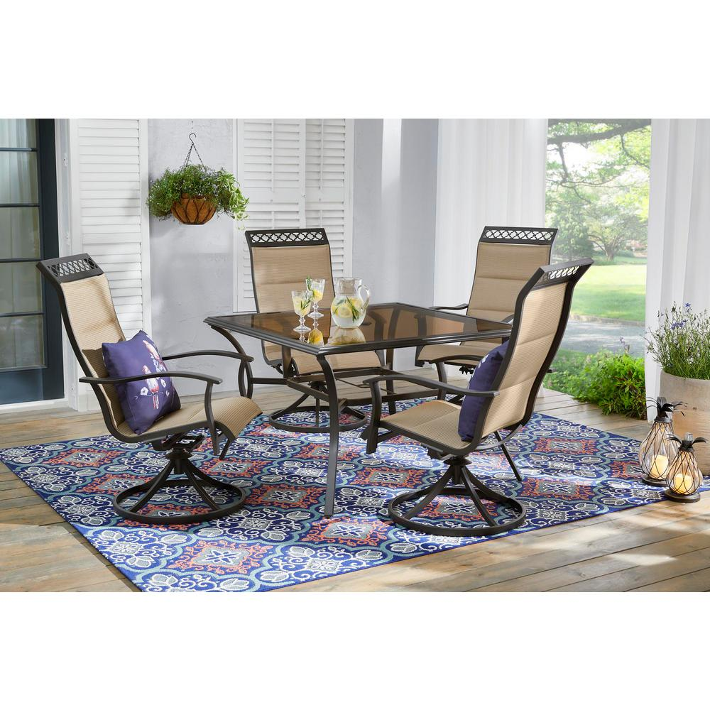 Hampton Bay Statesville Scroll 5-Piece Steel Padded Sling Swivel Outdoor Patio Dining Set in Toffee Tan
