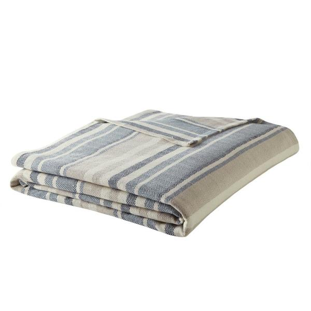 Blue Cotton Full/Queen Woven Blanket