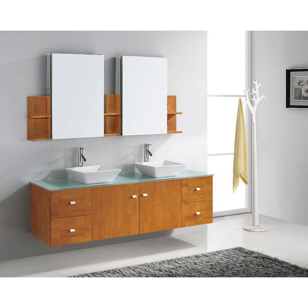 Wondrous Virtu Usa Clarissa 72 In W Bath Vanity In Honey Oak With Glass Vanity Top In Aqua With Square Basin And Mirror And Faucet Beutiful Home Inspiration Truamahrainfo