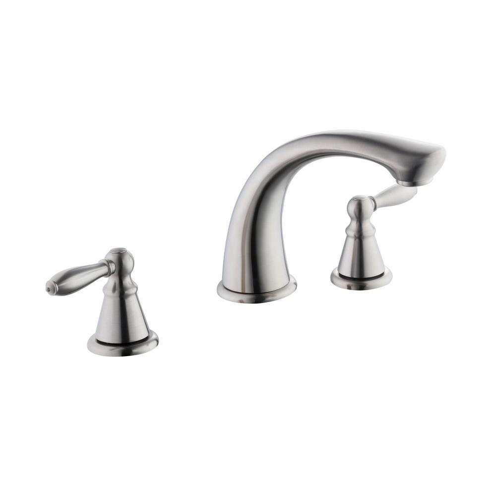 Adley 2-Handle Deck-Mount Roman Tub Faucet in Brushed Nickel