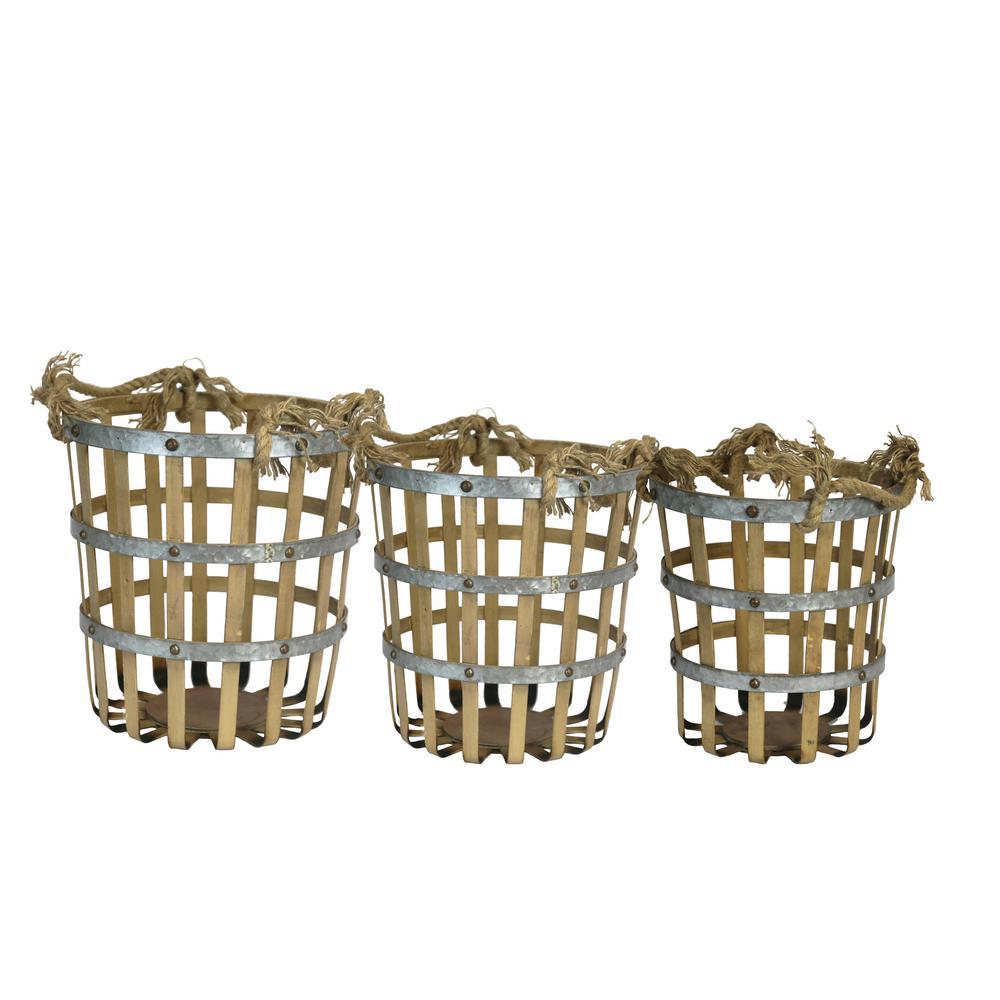 Bamboo/Metal Cylinder Baskets (Set of 3)