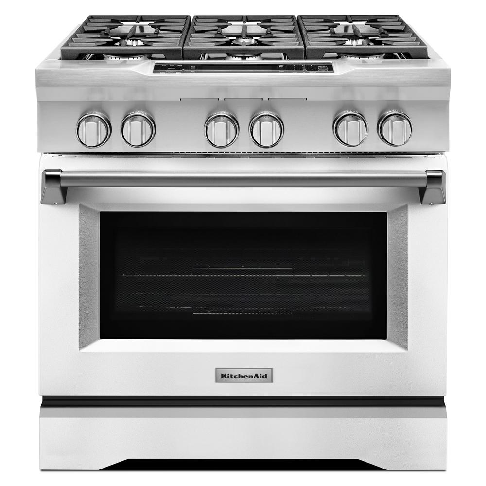 KitchenAid 36 in. 5.1 cu. ft. Dual Fuel Range with Convec...