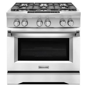 Merveilleux KitchenAid 36 In. 5.1 Cu. Ft. Dual Fuel Range With Convection Oven In  Imperial White KDRS467VMW   The Home Depot