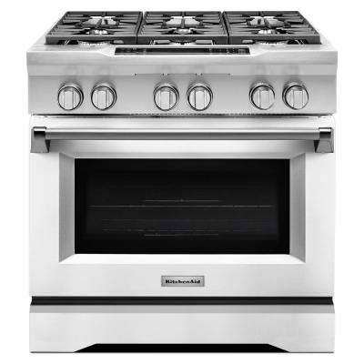 36 in. 5.1 cu. ft. Dual Fuel Range with Convection Oven in Imperial White