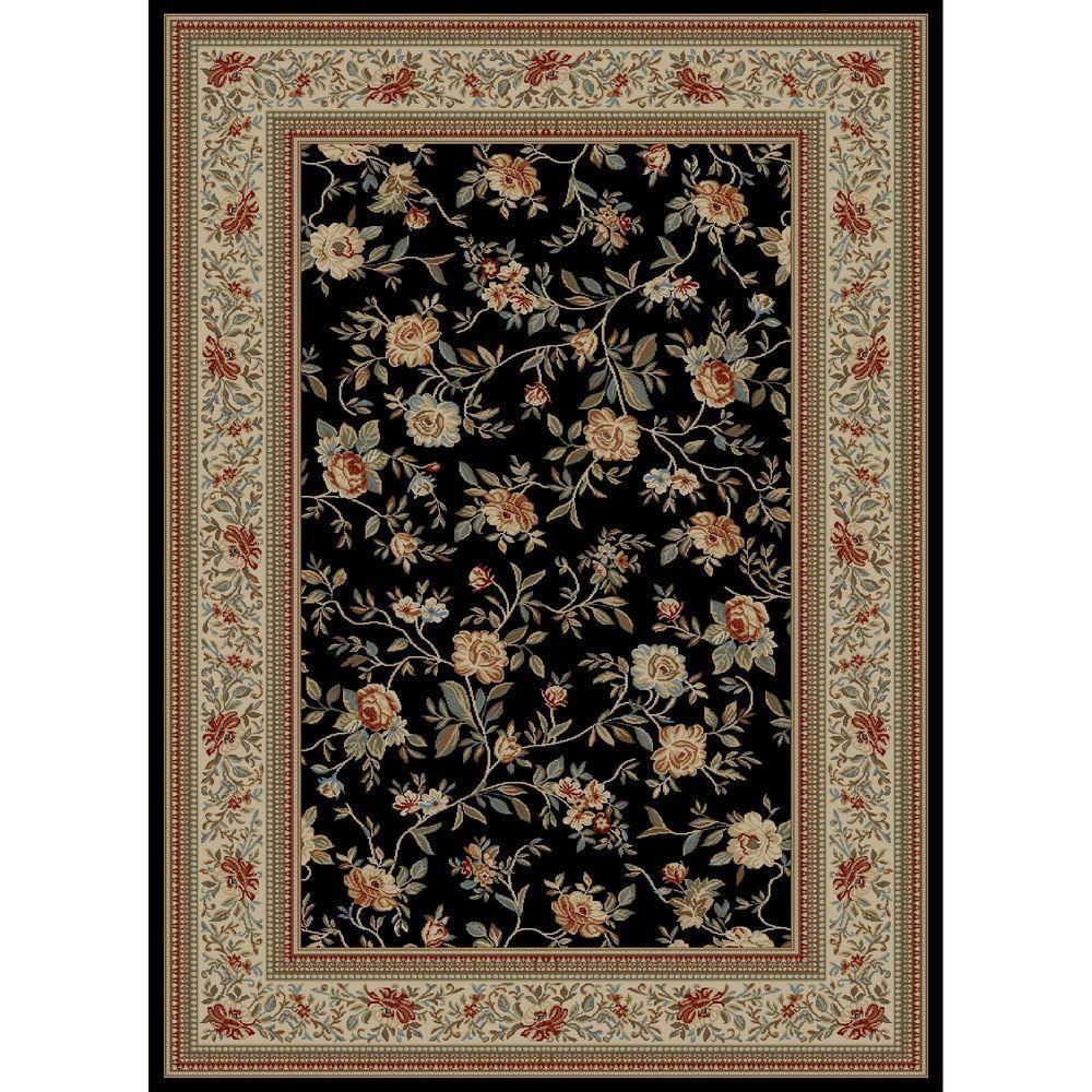 Ankara Floral Garden Black 6 ft. 7 in. x 9 ft.