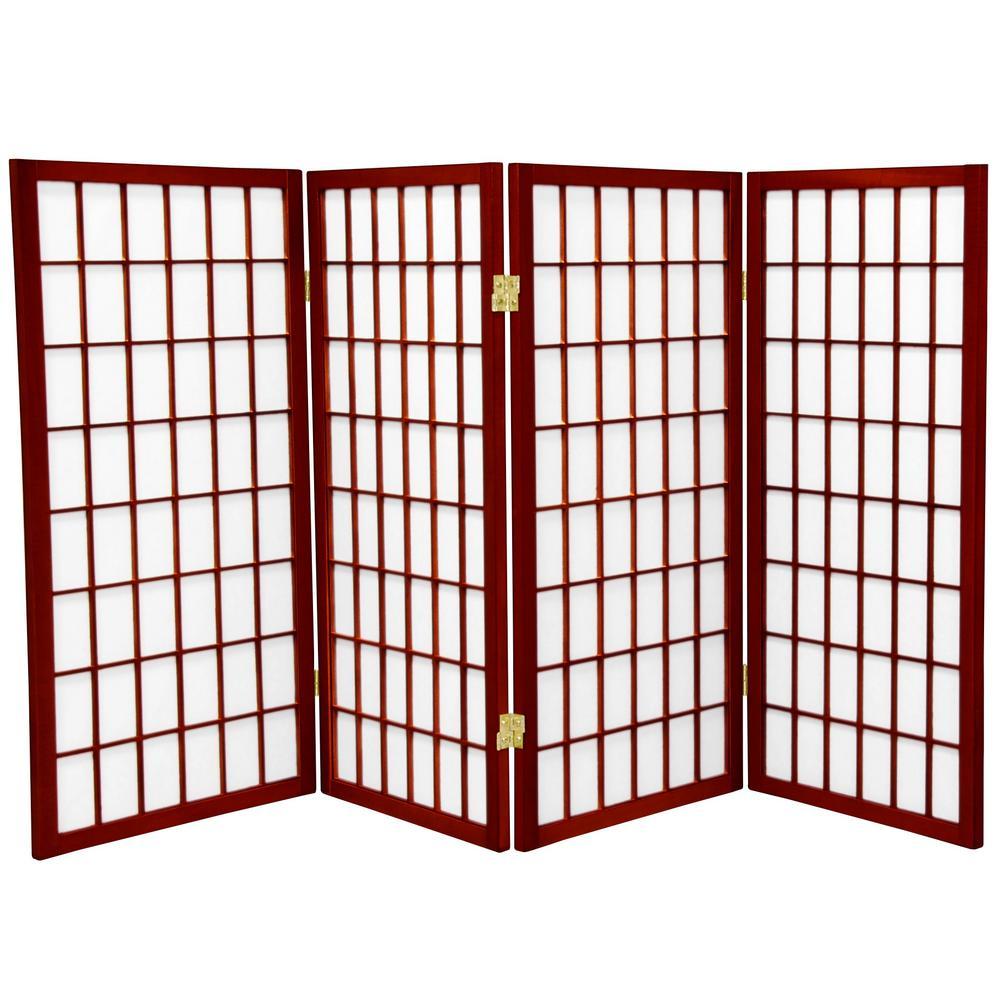 Oriental Furniture 3 ft. Rosewood 4-Panel Room Divider WP36-RWD-4P