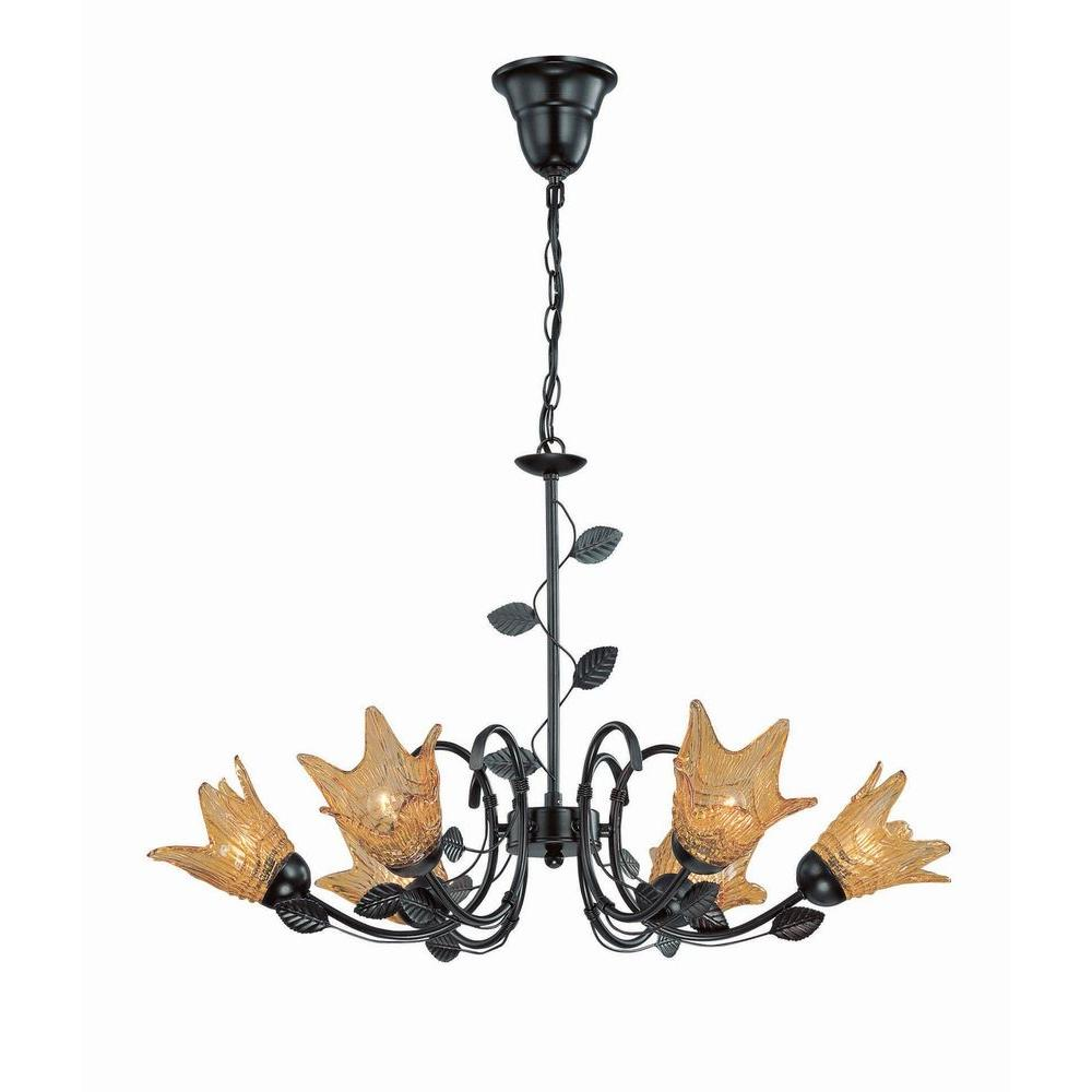 6-Light Bronze Chandelier with Amber Glass