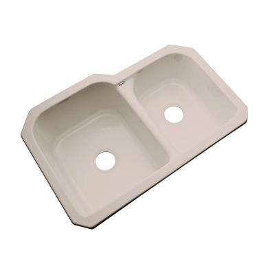 Cambridge Undermount Acrylic 33 in. 0-Hole Double Bowl Kitchen Sink in Fawn Beige