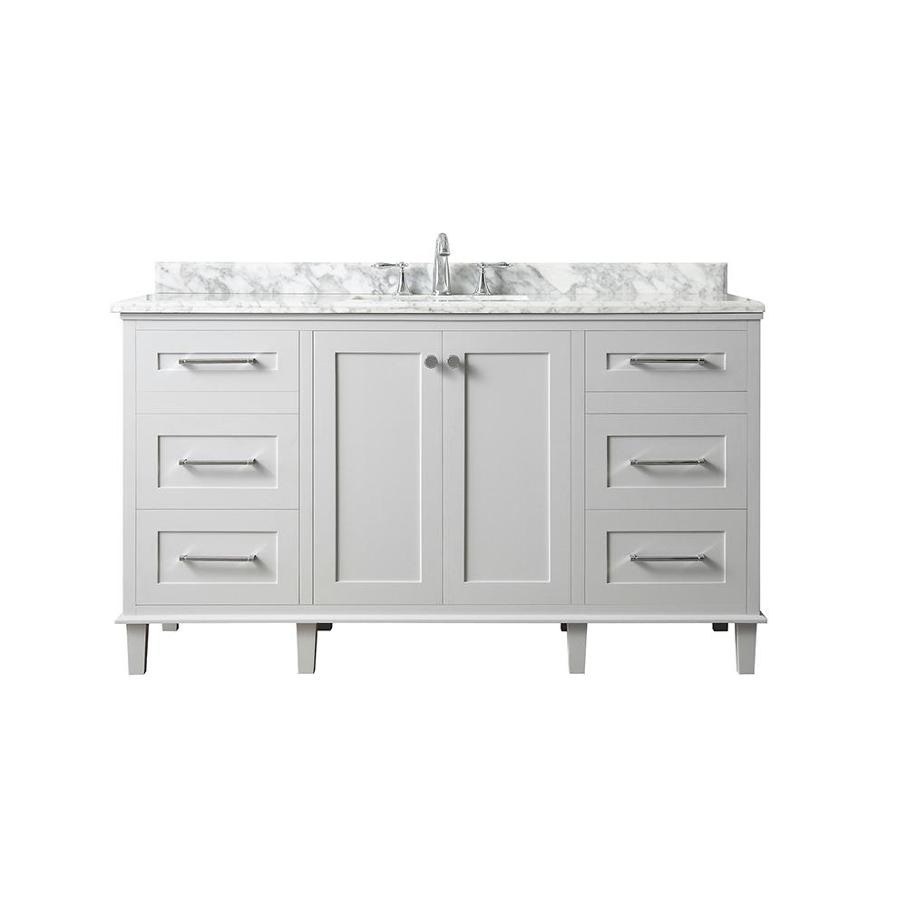 Home Decorators Collection Heathermore 60 in. W x 22 in. D in Dove Grey with Marble Top in Carrera with White Basins