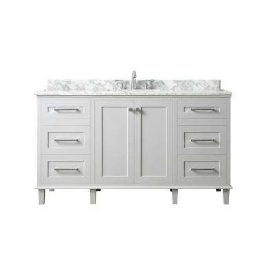 Heathermore 60 in. W x 22 in. D in Dove Grey with Marble Top in Carrera with White Basins