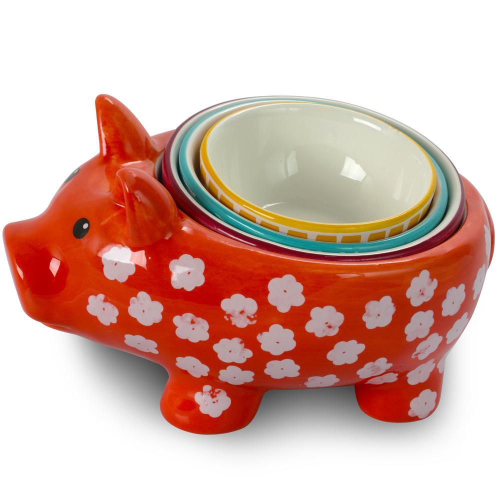 Life on the Farm 4-Piece Pig Shape Figural Measuring Cup Set