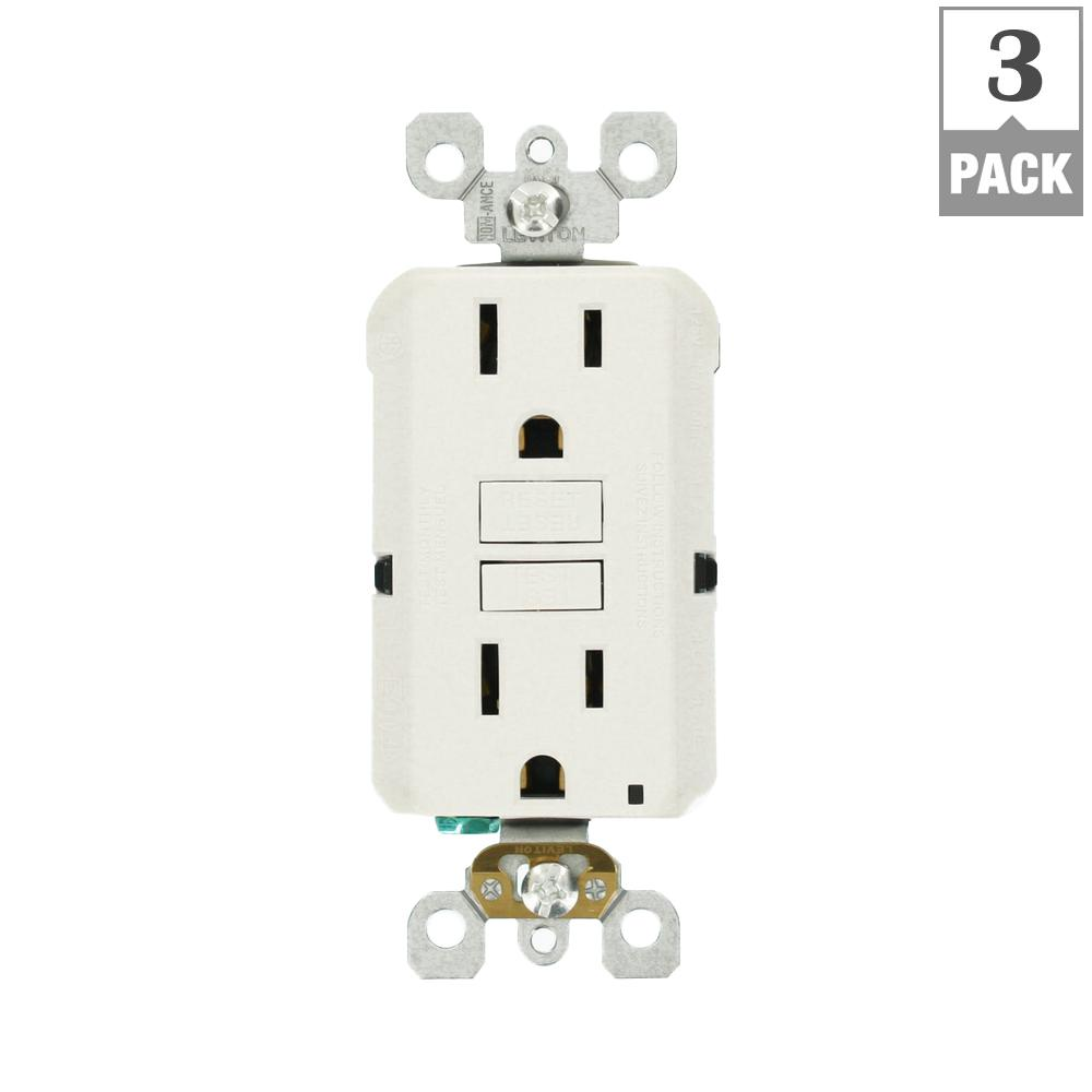 Leviton 15 Amp Self Test Smartlockpro Slim Duplex Gfci Outlet White Home Wiring 3