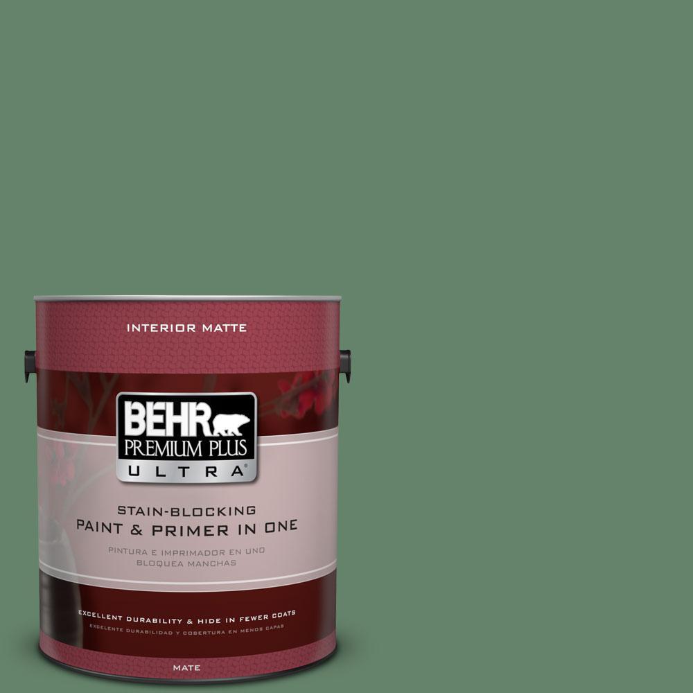 BEHR Premium Plus Ultra 1 gal. #BIC-55 Garden Greenery Matte Interior Paint