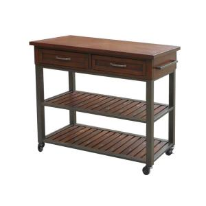 cabin creek chestnut kitchen cart with storage 5411 952 the home