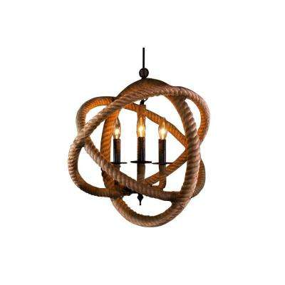 Edison Natalia Collection 3-Light Natural Rope Enclosed Indoor Chandelier