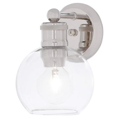 Hansford Collection 1-Light Polished Nickel Bath Sconce with Clear Globe Shade
