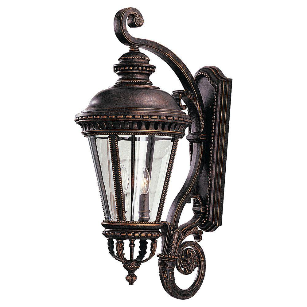 Feiss Castle 12.5 in. W 4-Light Grecian Bronze Outdoor 32 in. Wall Lantern Sconce