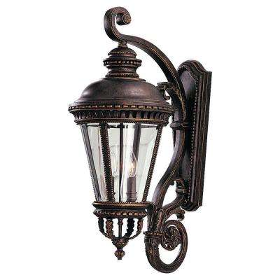 Castle 12.5 in. W 4-Light Grecian Bronze Outdoor 32 in. Wall Lantern Sconce
