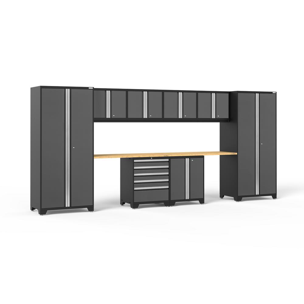NewAge Products Pro 3.0 85.25 in. H x 184 in. W x 24 in. D 18-Gauge Welded Steel Garage Cabinet Set in Gray (10-Piece)