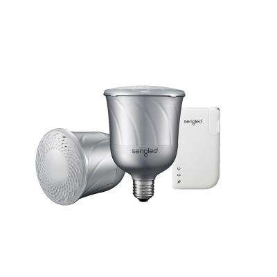 Pulse Link Starter Kit 55W Equivalent Soft White BR30 LED Light Bulbs with Bluetooth JBL Speaker and TV Adapter, Pewter