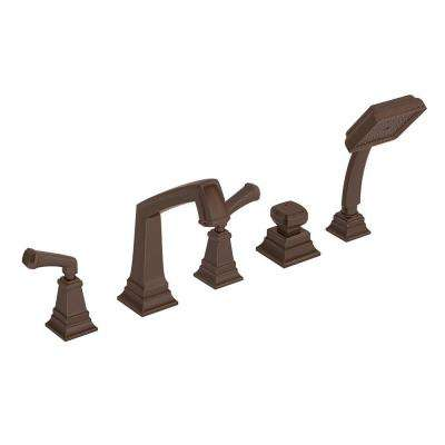 Oxford 2-Handle Deck-Mount Roman Tub Faucet with Hand Shower in Oil Rubbed Bronze