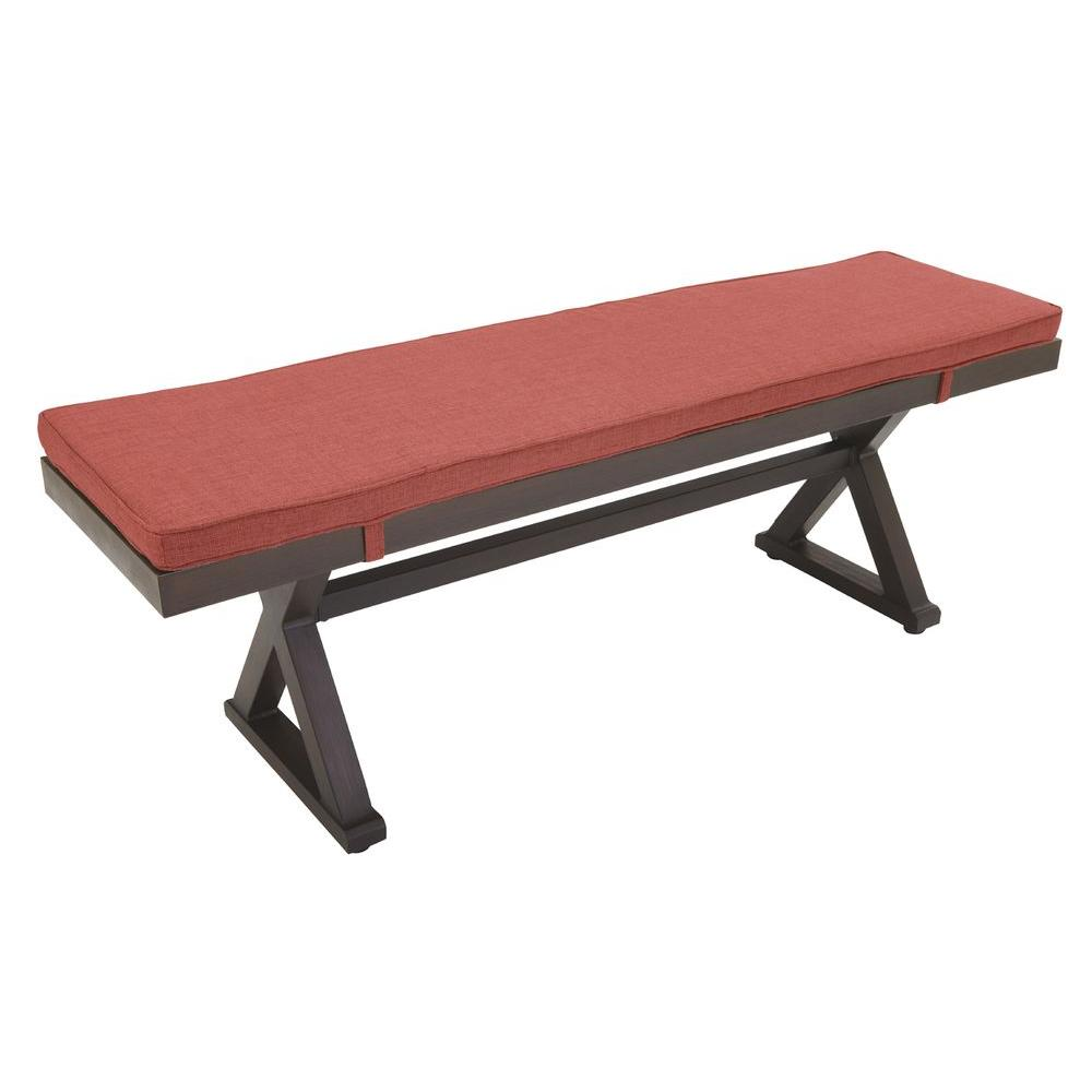 Hampton Bay Woodbury Metal Outdoor Patio Bench With Chili Cushion