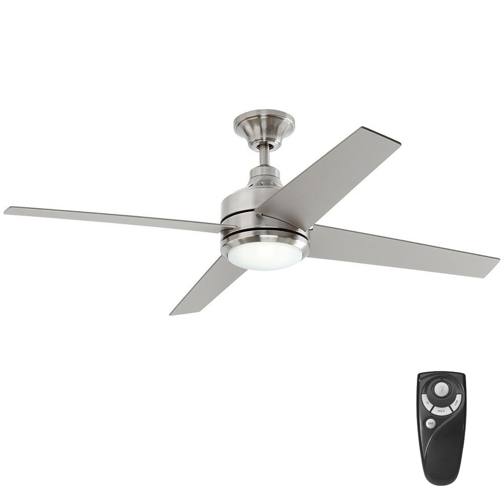 home decorators collection mercer 52 in led indoor brushed nickel ceiling fan with light kit. Black Bedroom Furniture Sets. Home Design Ideas