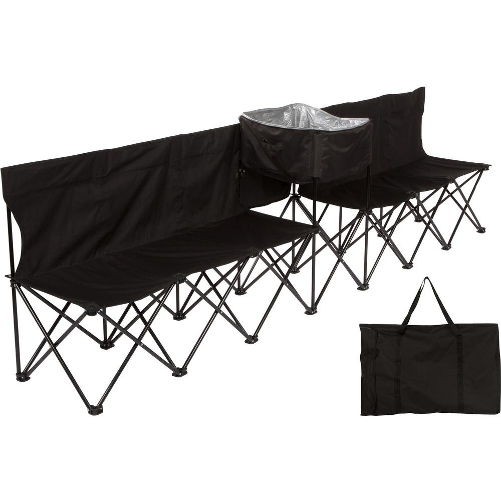 10 ft. Black Portable 6-Seater Folding Team Sports Sideline Bench with