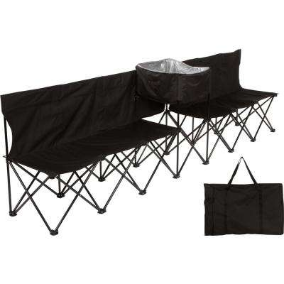 10 ft. Black Portable 6-Seater Folding Team Sports Sideline Bench with Attached Cooler and Full Back