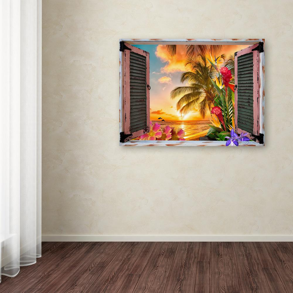 "Trademark 35 in. x 47 in. ""Tropical Window to Paradise II..."