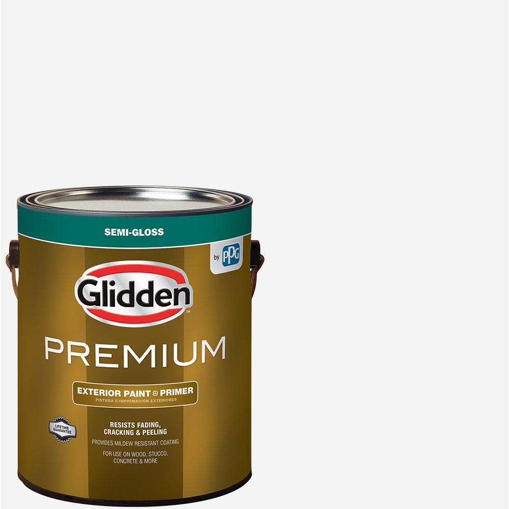 GliddenPremium Glidden Premium 1 gal. Semi-Gloss Latex Exterior Paint, White